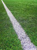 Sideline Football Field, Sideline Chalk Mark Artificial Grass Soccer Field poster