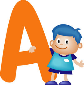 stock photo of alphabet letters  - Happy kid playing with Alphabet letter A - JPG