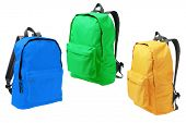 foto of knapsack  - Three Colorful Backpacks Standing on White Background - JPG