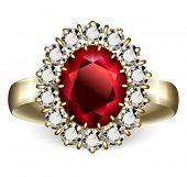Goldring mit Rubin und Diamanten