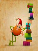 Happy elf with gifts on wooden background | Christmas Greeting Background