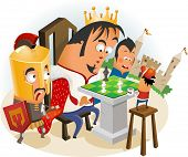 Playing Chess with King. Vector