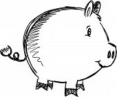 Sketch Doodle Pig Animal Vector