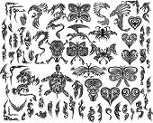 Iconische Dragons Butterfly Eagle Tattoo Tribal Vector Set