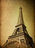 retro style Eiffel Tower (nickname La dame de fer, the iron lady),The tower has become the most prom