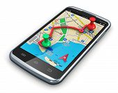 stock photo of gps navigation  - Travel car auto tourism and route planning concept - JPG