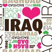Постер, плакат: Я люблю Багдад Ирак бесшовные типографии фоновый узор в векторе