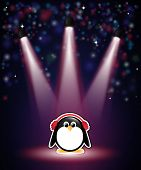 A cute cartoon penguin in earmuffs, with winter theme background of snow and stars. Also available i