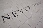 MORRIS PLAINS, NJ-SEPT 11: Tiles that read 'Never Forget' lay within the 911 memorial grounds on the