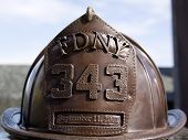 W. ORANGE, NJ-SEPT 11: A bronze sculpture of a firefighters helmet in the 911 memorial inside Eagle