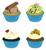 illustration of various cupcakes on a white background
