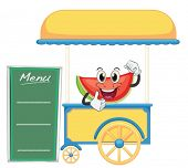 illustration of a cart stall and a watermelon on a white background