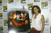 SAN DIEGO, CA - JULY 15: Angel Coulby arrives at the 2012 Comic Con convention press room at the Bay