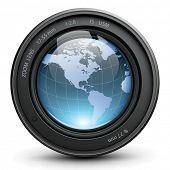 Cámara de foto con globo de tierra adentro, vector.