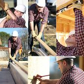Montage of builder working on wooden house frame
