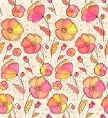 Red, orange and yellow flowers vector pattern