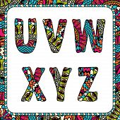 U, V, W, X, Y, Z. Letters of alphabet with ethnic motifs.