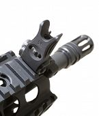 foto of ar-15  - Sight that is up front on a modern semi automatic rifle - JPG