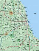 Greater Chicago Metropolitan Area Map poster