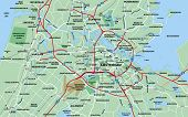 Metropolitan Area Map For Amsterdam, Holland