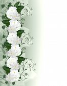 White Flowers Border Periwinkle Invitation