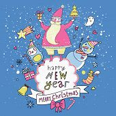 Merry Christmas and Happy New Year card in vector. Santa with Snowman and penguin wishing you Happy