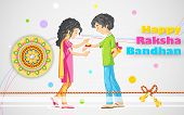 stock photo of rakshabandhan  - illustration of brother and sister tying rakhi on Raksha Bandhan - JPG