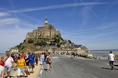 MONT SAINT MICHEL, BRITTANY, FRANCE - AUGUST 11: People visiting the mont saint michel, in the north