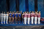 MOSCOW - DEC 21: The girls on award ceremony of athletes at Show Olympic champions in synchronized s