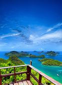 Ko Samui angthong national marine park archipelago in Thailand. Panoramic islands view from viewpoin
