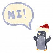 retro cartoon penguin saying hi