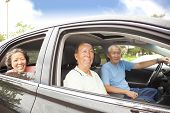 Happy Seniors Enjoying Road Trip And Travel