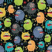 Cute monsters seamless texture with stars.