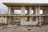 stock photo of chalet  - demolished holiday chalets on a site near to blackpool in lancashire - JPG