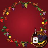 stock photo of tangelo  - Vector illustration of wine wreath with grapes and a barrel - JPG