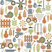 picture of water-mill  - seamless pattern with agriculture icons - JPG