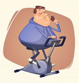 Fat man eating and riding. Vector illustration.