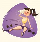 Tired girl after fitness. Vector illustration.