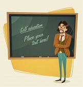 Teacher character. Vector illustration.