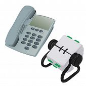 Modern Desk Phone And Rolodex Organiser