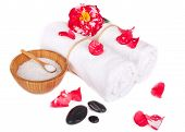 Flower Of Camellia With Towels And Salt Isolated
