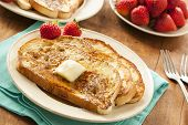 stock photo of french toast  - Homemade French Toast with Butter and Powdered Sugar - JPG