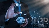 Engineer Works Industry Diagram On Virtual Computer
