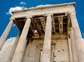 foto of olympic stadium construction  - Details of an ancient ruined Greek portico with columns - JPG