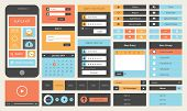picture of packing  - Modern UI flat design vector kit in trendy color with simple mobile phone buttons forms and other interface items - JPG