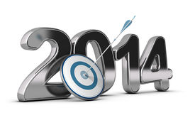 picture of objectives  - 3D metallic Year 2014 with a target at the foreground with an arrow hitting the center concept image for achieving business objectives - JPG