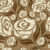 Seamless beige grunge rose pattern