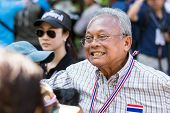 BANGKOK - JANUARY 15: suthep thaugsuban, leader of opposition, protesting against the government in the Thong Lo district, sukhumvit road on January 15, 2014 in Bangkok, Thailand
