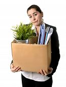 Angry Business Woman Carrying Cardboard Box Fired From Job