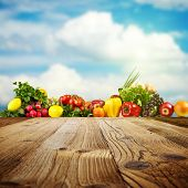 image of edible  - Vegetable background with copy - JPG